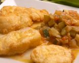 Bacalao fresco frito con pisto