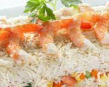 Ensalada de arroz con gambas al curry