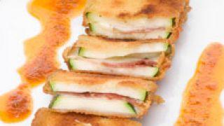 San jacobos de calabacín con salsa de mojo picón