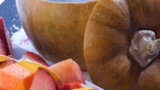 Fondue de calabaza con chocolate y frutas