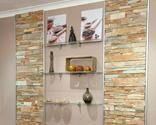 Cómo instalar piedra decorativa en una pared con baldas de cristal integradas