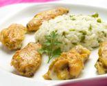 Alitas de pollo al curry con arroz