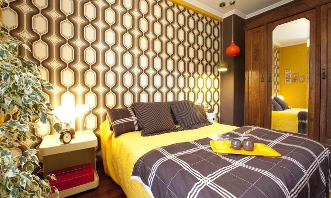 Dormitorio Puro Estilo Retro En Tonos Ocres Y Marrones Decogarden - Habitacion-retro