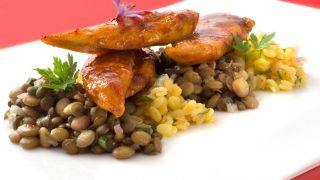 Pollo al curry con lentejas