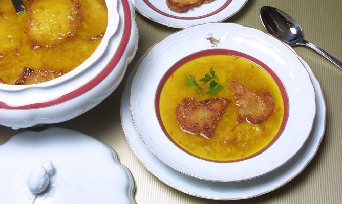 Receta de sopa de azafr n karlos argui ano - Escuela de cocina azafran ...