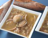 Sopa de ajo con almejas y jamón