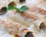 Canelones de carne con queso fresco y espinacas