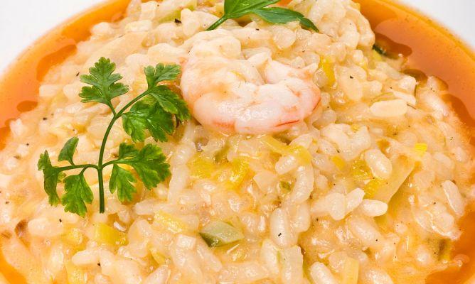 Receta de risotto de gambas y puerros con tomate bruno - Hojaldre de puerros y gambas ...