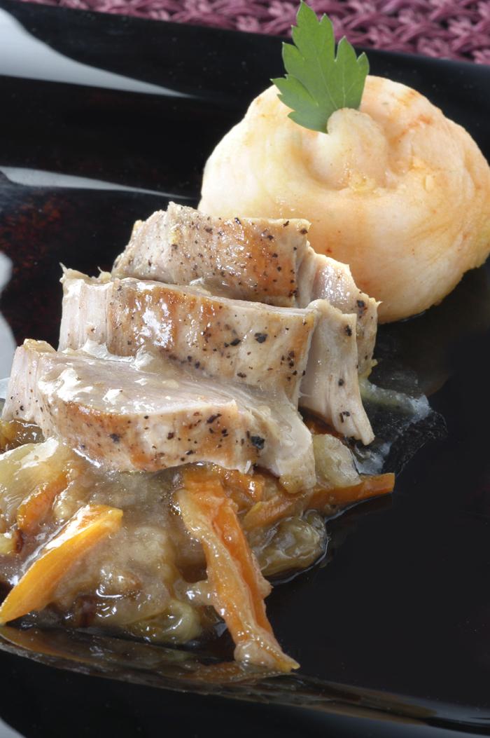 Receta de Solomillo de cerdo con fritada de manzana