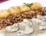 Kokotxas dos gustos con arroz frito