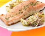 Receta de Salmón con ensalada de patata, eneldo y mostaza