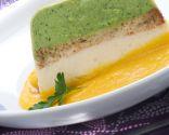 Pastel de brócoli y coliflor con crema de zanahoria