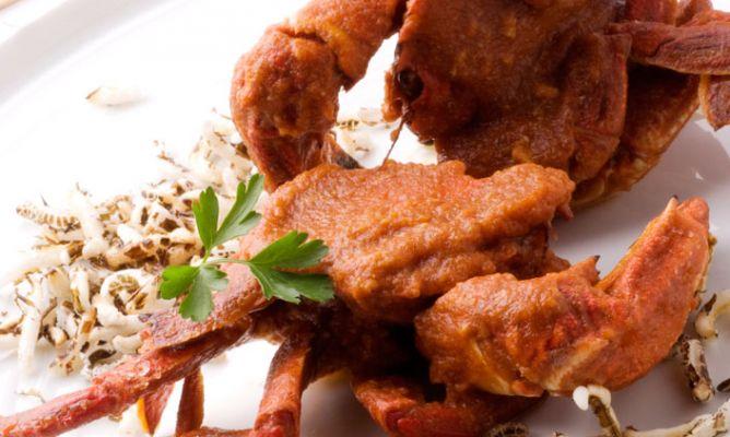 Receta de Nécoras en salsa con arroz frito