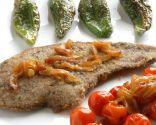 Hígado de ternera con pimientos verdes fritos