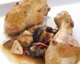 Pollo guisado con jamón y berenjenas