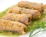 Puerros con jamón cocido en salsa verde