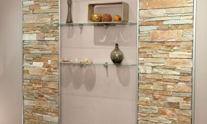 C mo instalar piedra decorativa en una pared con baldas de for Cocinas con piedras decorativas
