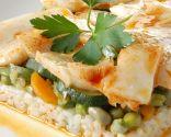 Ensalada templada de arroz con bacalao