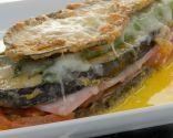 Lasaña de berenjenas, jamón y queso