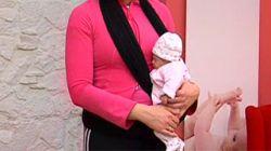 sujetar bebé fular