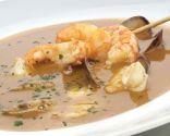 Receta de Sopa de pescado con brocheta de langostinos