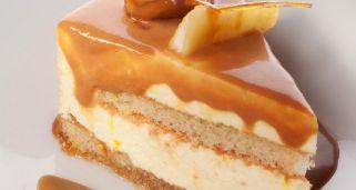 Tarta semifría de mousse de pera y toffee de castaña