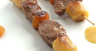 Brocheta de cordero y pl�tano al curry