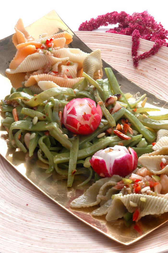 Ensalada de pasta y judías verdes