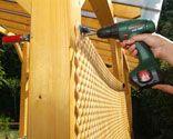 Protección con celosía de madera