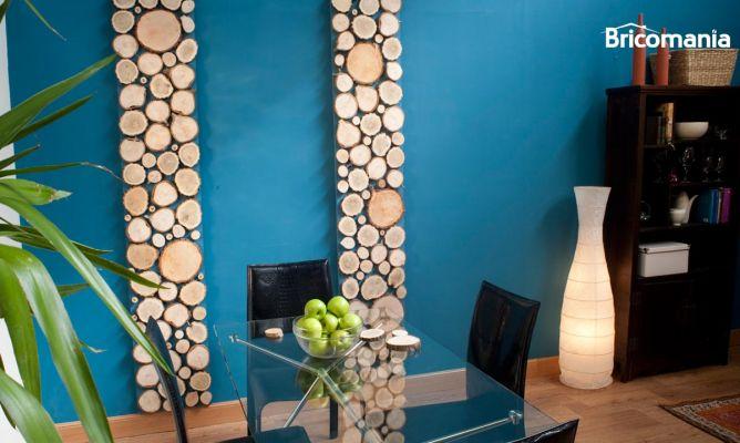 Panel decorativo con troncos para la pared bricoman a - Panel decorativo cocina ...