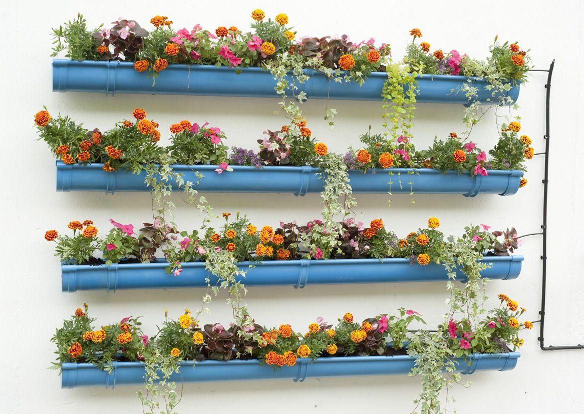 Usar canalones a modo de jardineras