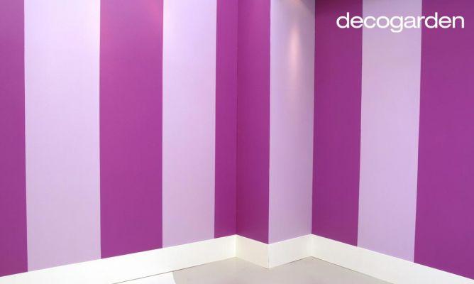 C mo pintar la pared con l neas verticales decogarden - Como pintar paredes de diferentes colores ...