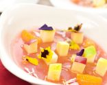 Gelatina de frutas y flores