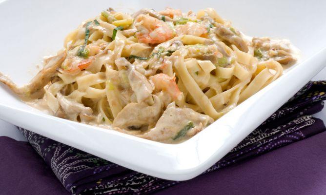 Receta de tallarines con setas y gambas karlos argui ano - Espaguetis con gambas y champinones ...