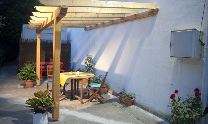 Crear estructura para p rgola de madera bricoman a - Como hacer un toldo para pergola ...