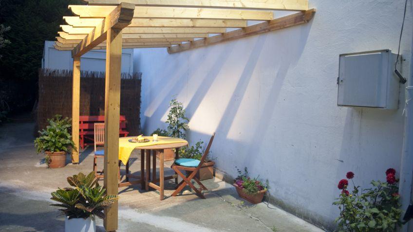 crear estructura para prgola de madera bricomana - Como Hacer Una Pergola