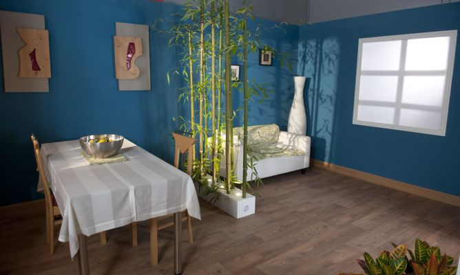 Separador de ambientes con ca as de bamb bricoman a - Muebles separadores de espacios ...