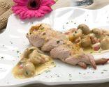 Trenzas de solomillo de cerdo con champiñones picantes