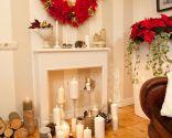 Decoración de Navidad: Chimenea y corona navideña