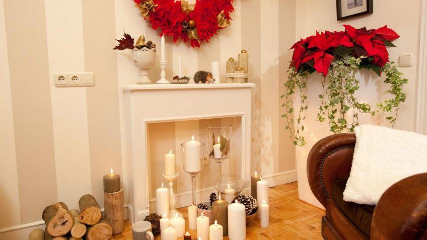 Chimenea decorativa y corona navidea Decogarden