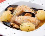 Cazuela de locha, mejillones y patatas