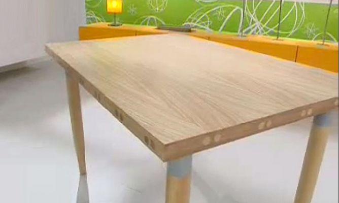 Mesa de madera con chapeados naturales - Como hacer patas de madera para mesas ...