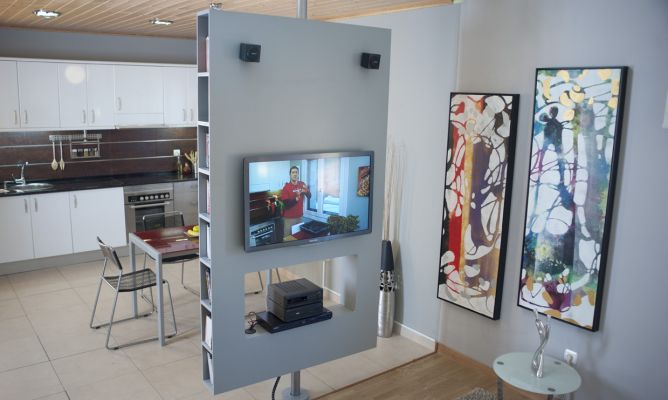 Crear mueble multimedia giratorio bricoman a - Como hacer un mueble de salon ...