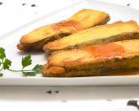 San Jacobos de calabacín, jamón y queso con salsa marinera