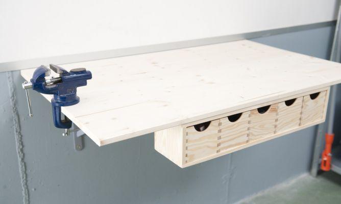 Mesa de trabajo suspendida hogarmania - Como hacer una mesa abatible ...