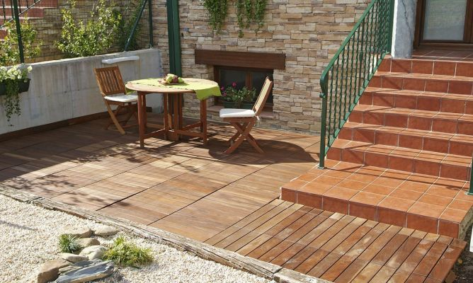 Revestir suelo de terraza bricoman a for Suelos patios rusticos