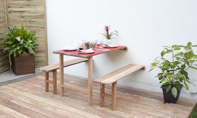 Mesa y bancos abatibles bricoman a - Como hacer una mesa plegable ...
