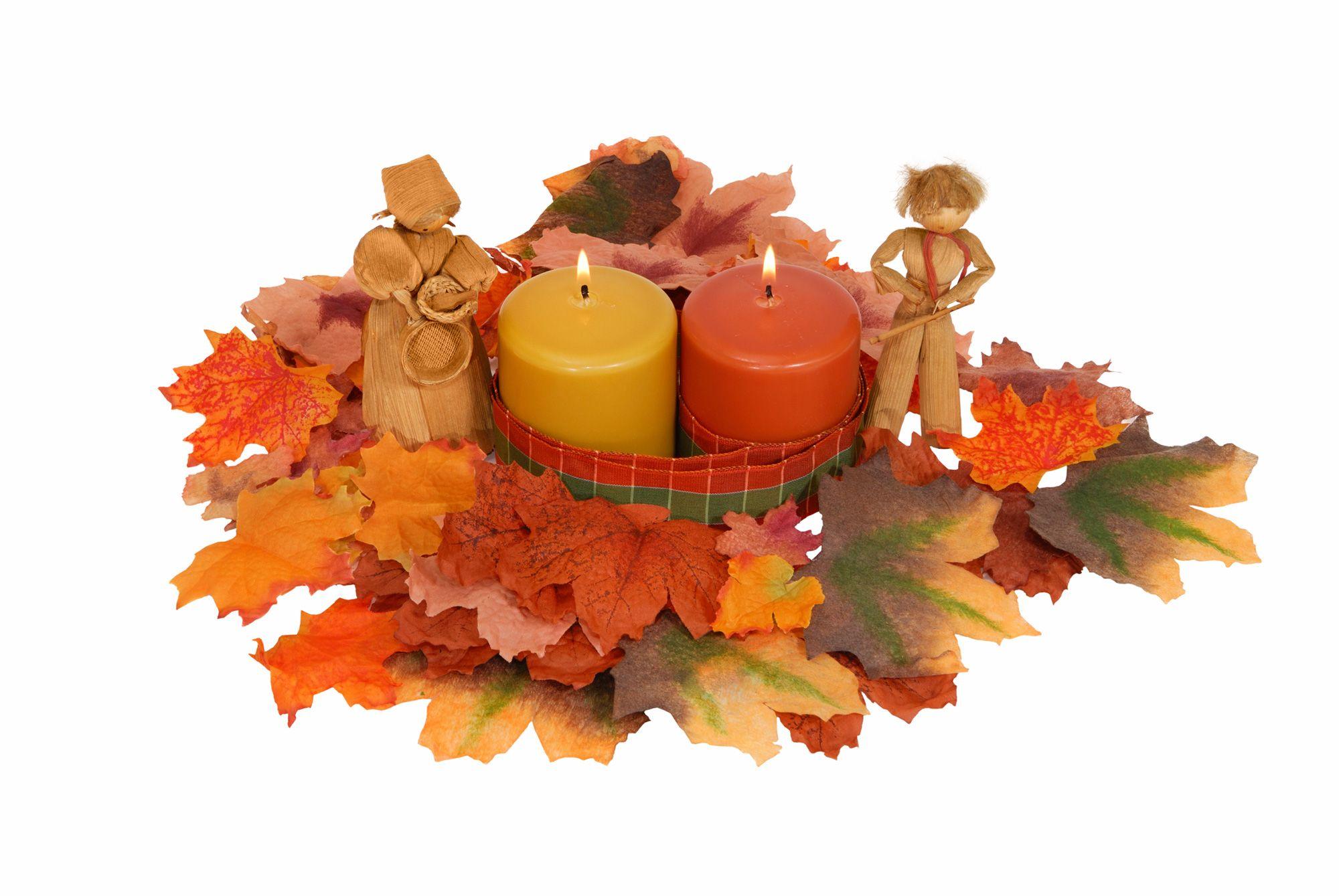 Decoracion de otoño con velas