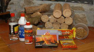 Diferentes materiales para el fuego de la chimenea