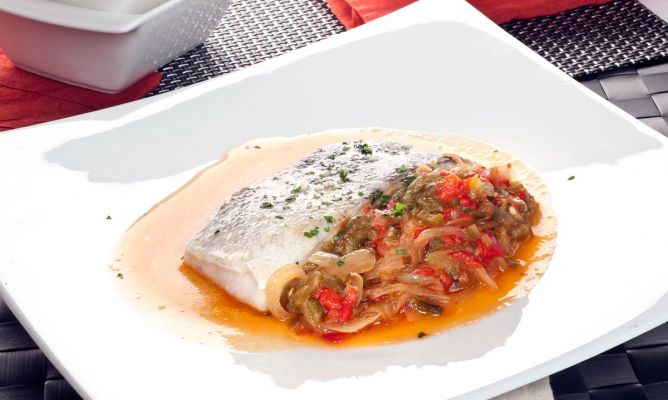 Receta de bacalao a baja temperatura con piperrada bruno for Cocina a baja temperatura